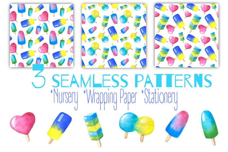 watercolor-ice-cream-lollipops-icecream-clipart-patterns-print