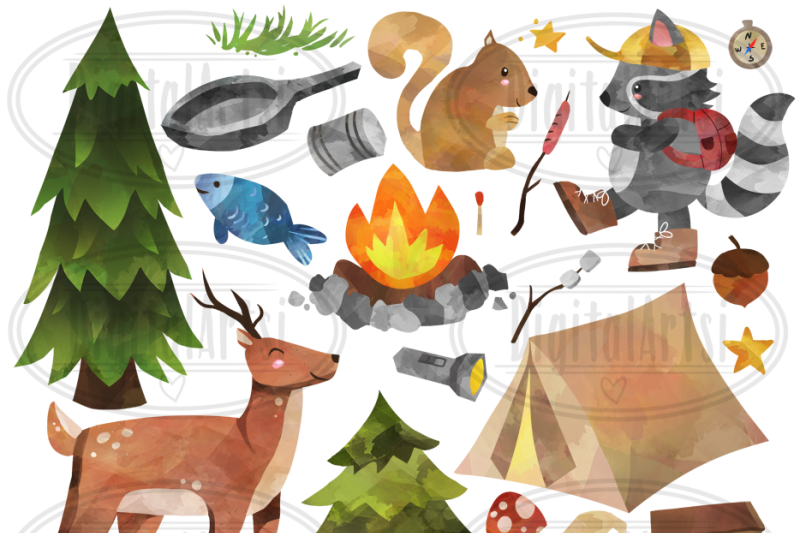 watercolor-camping-clipart