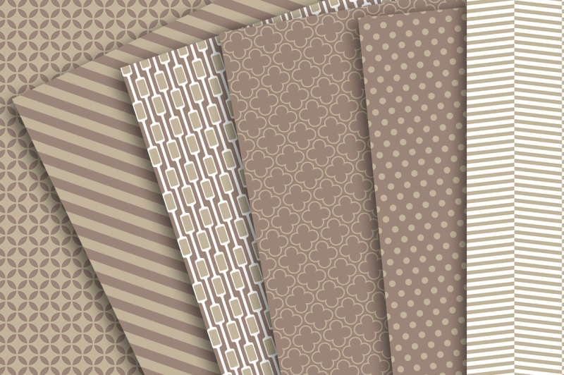digital-paper-brown-tan-and-white-patterns-of-chevron-polka-dots-stripes-quarterfoil