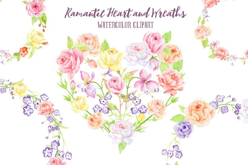 watercolor-rose-wreath-and-heart