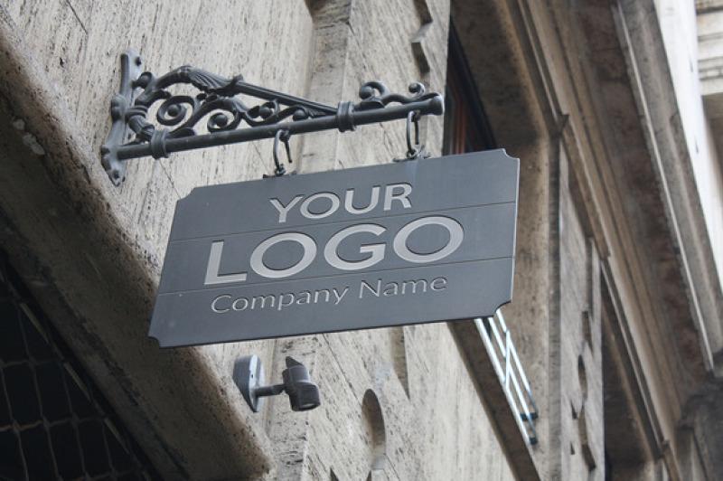 Free Logo Mock Up Exterior Sign (PSD Mockups)