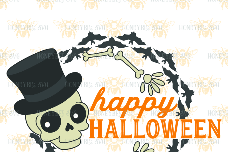 Happy Halloween Wreath By Honeybee Svg Thehungryjpeg Com