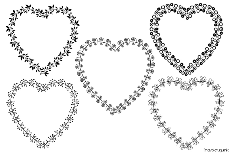 heart shaped frames set  valentine wreaths clipart  black