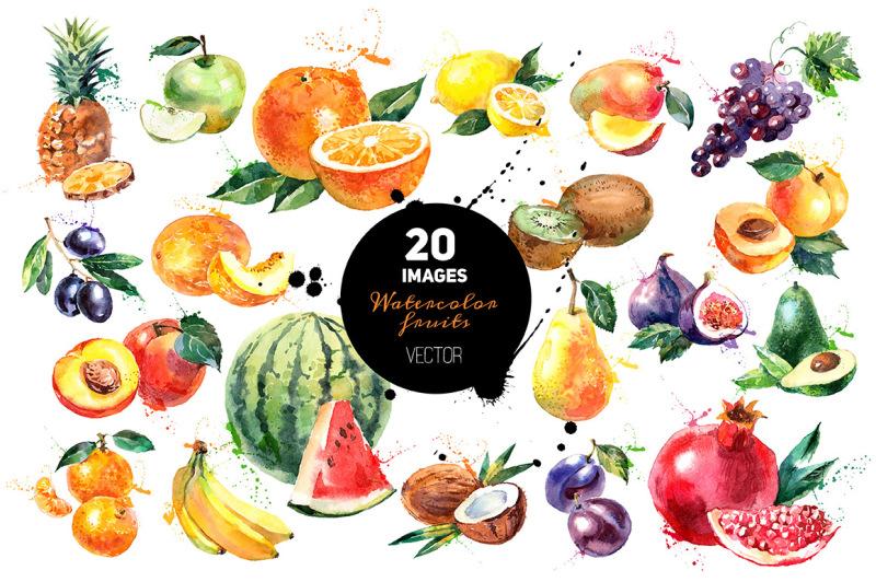 20-watercolor-fruits-vector-set
