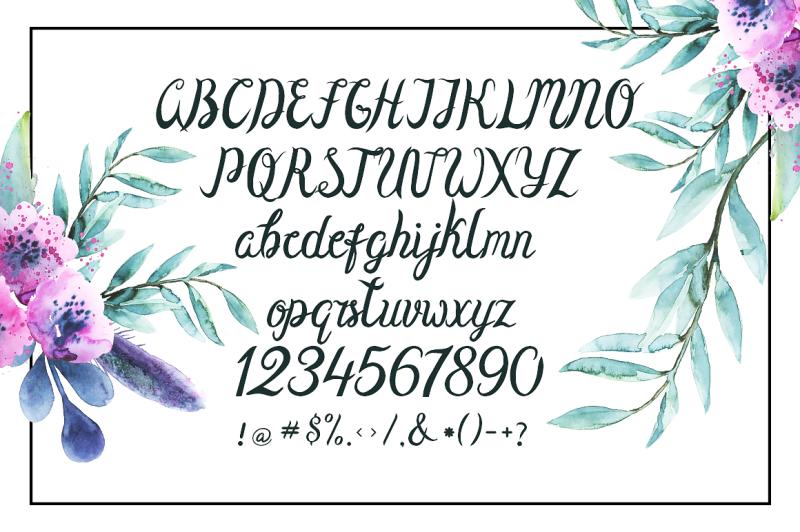 olivia-sand-typeface-and-flowers-set