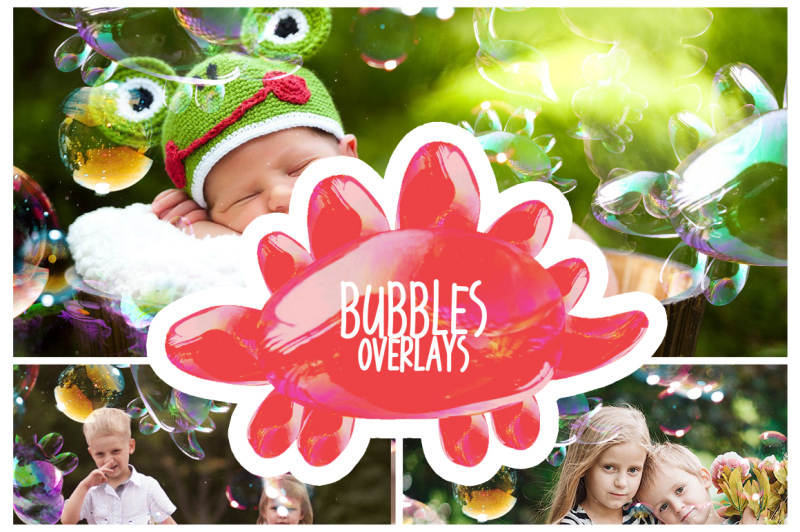 Dinosaur Bubbles Photoshop Overlays