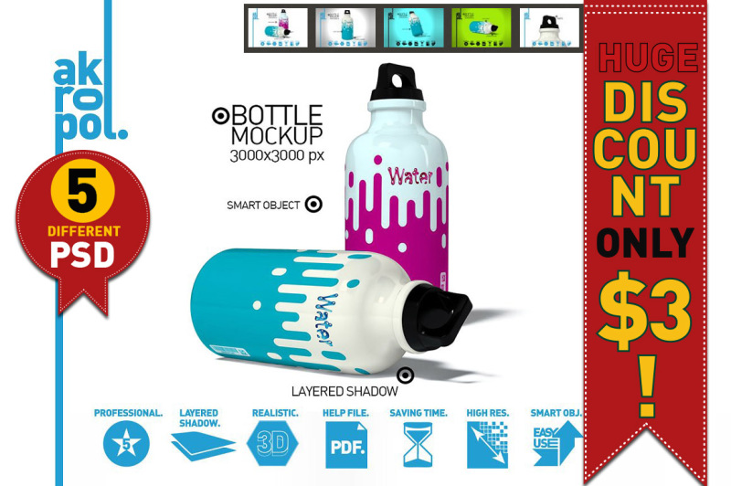 Free Water Bottles Mock Up (PSD Mockups)