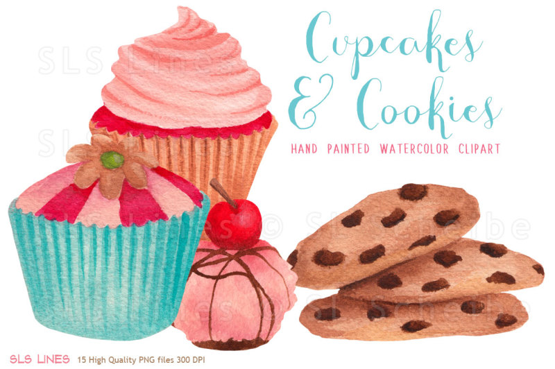 cupcakes-and-cookies-watercolors
