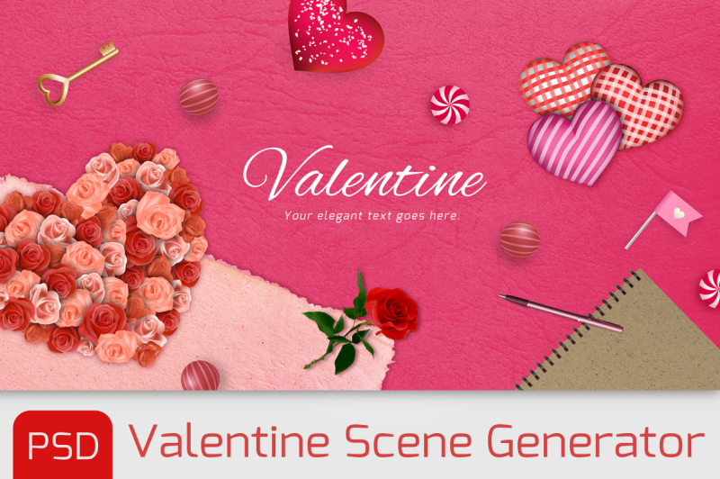 Free Love items scene generator with PSD (PSD Mockups)