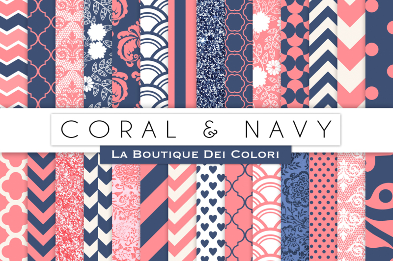 coral-and-navy-digital-paper