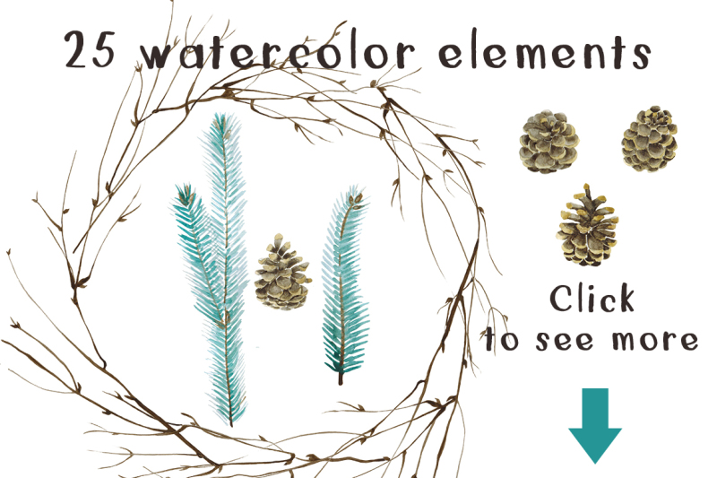 winter-forest-waterclolor-set