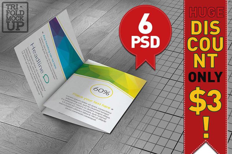 Free 6 Tri-Fold A5 Brochure Mock-ups (PSD Mockups)