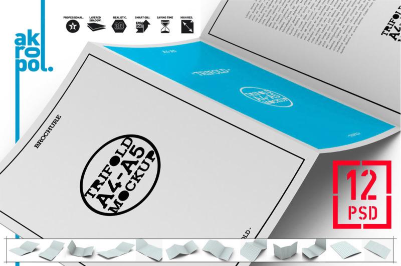 Free 12 PSD - A4 / A5 Tri-Fold Brochure Mock-Up (PSD Mockups)