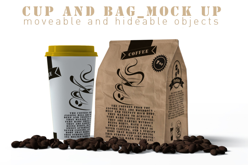 Free Coffee Cup And Paper Bag Mock Up (PSD Mockups)