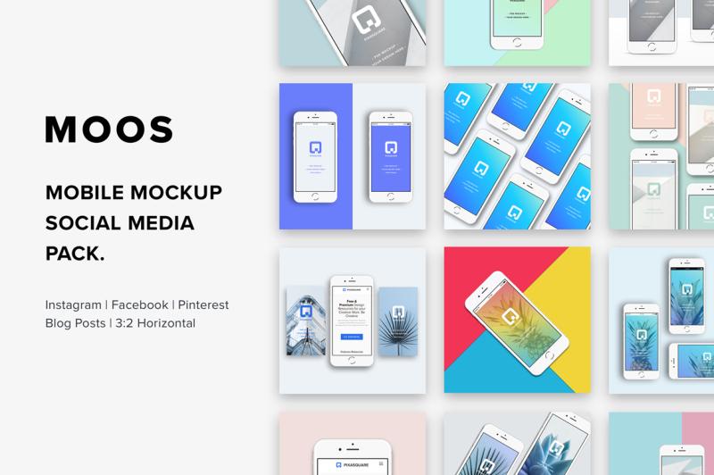 Free Moos - Mobile Mockup Social Media (PSD Mockups)