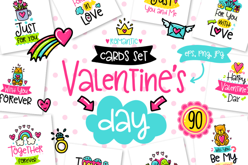 90-valentine-s-day-cards-love-set