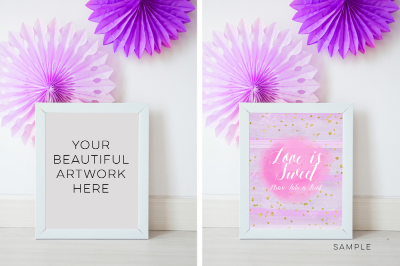 Free frame Wedding mockup, White Frame 10 x 8 Mockup, pastel Birthday party mockup, photo frame, feminine Wedding Styled Stock purple lilac (PSD Mockups)