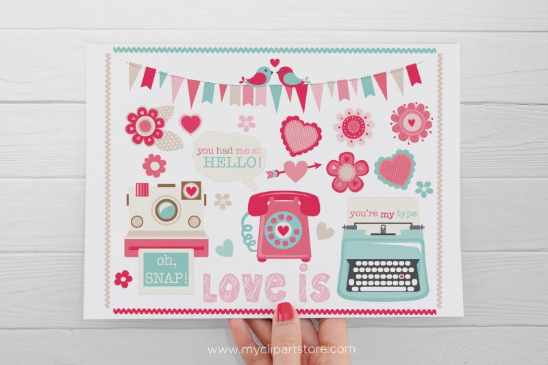 retro-valentine-typewriter-phone-camera-vector-clipart