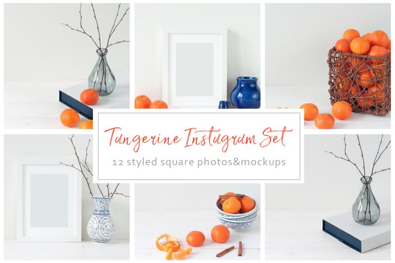 Free Tangerine Instagram Set (PSD Mockups)