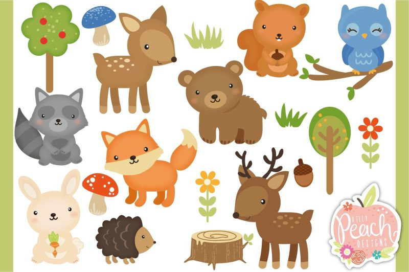 woodland-animals-digital-clipart-set-for-personal-and-commercial-use