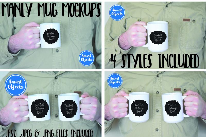 Free Manly Mug Mockup Collection (PSD Mockups)