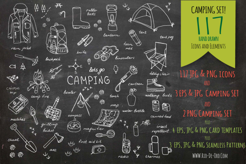 117-hand-drawn-camping-elements