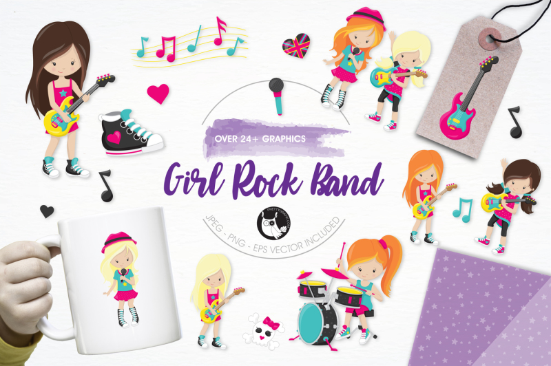 girl-rock-band-graphics-and-illustrations