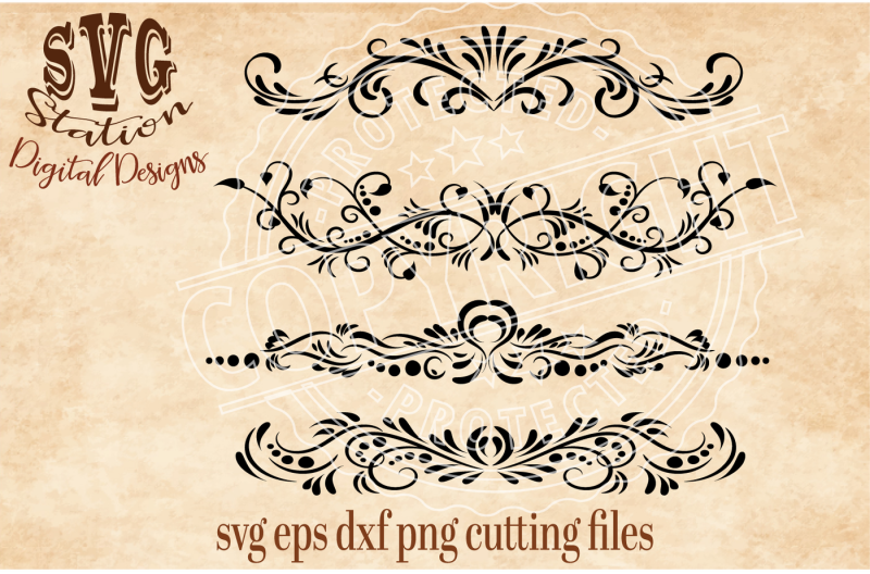 Download Fancy Flourish Borders / SVG DXF PNG EPS Cutting File ...