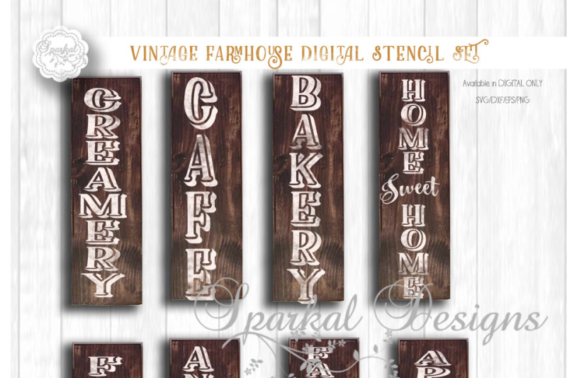 Get Vintage Farmhouse Bundle | 9 Cutting Files | Svg | Eps | Dxf | Png SVG