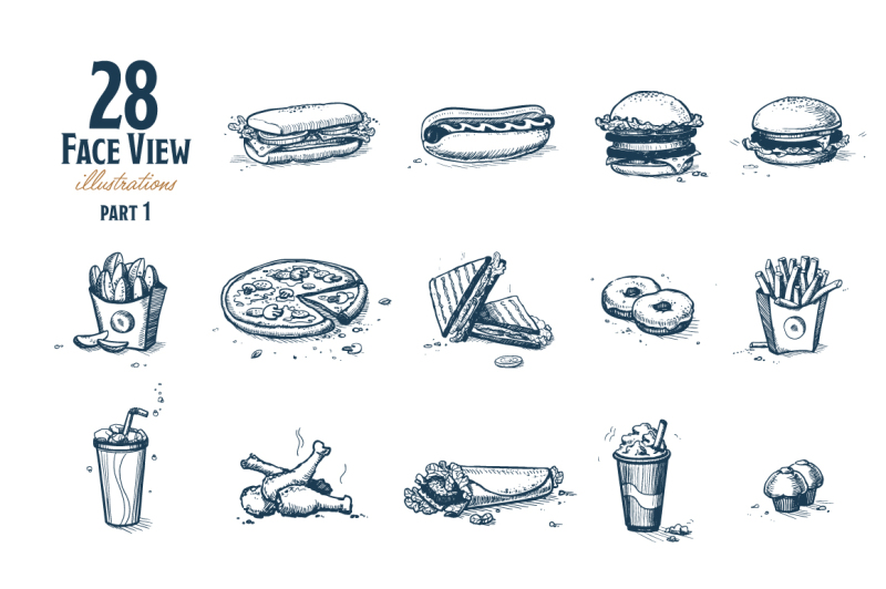 fast-food-hand-drawn-set