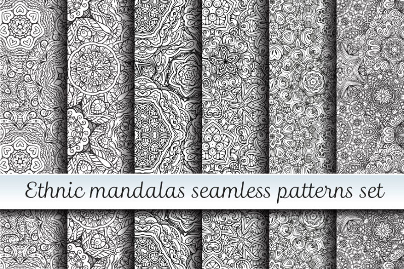 ethnic-mandals-seamless-patterns-set