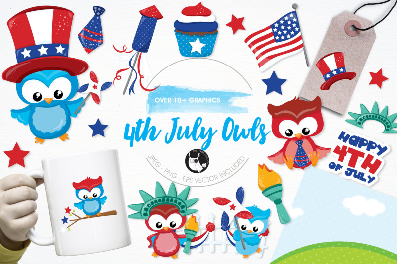 4th-july-owls-graphics-and-illustrations
