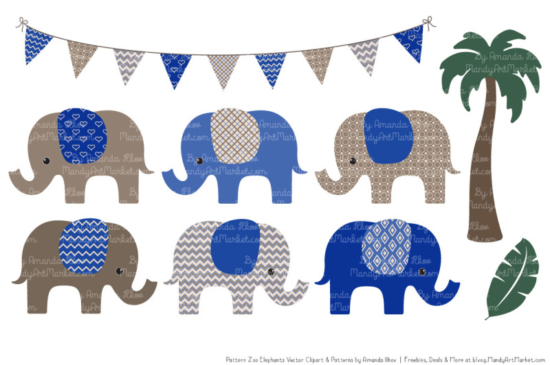 pattern-zoo-vector-elephants-clipart-and-digital-papers-in-royal-blue