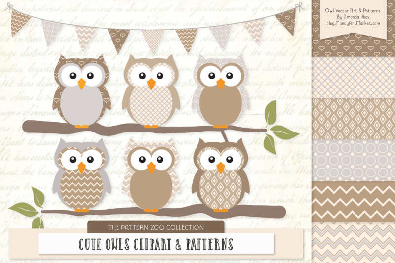 pattern-zoo-vector-owls-clipart-and-digital-papers-in-champagne
