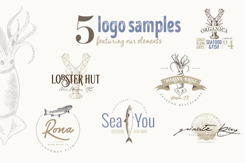 organic-logo-elements-sea-food-and-fish