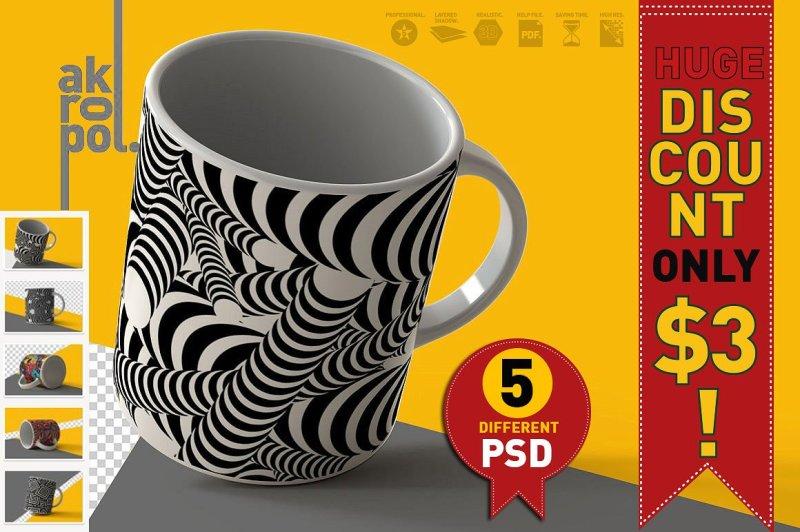 Free 5 Mugs Mock Up (PSD Mockups)