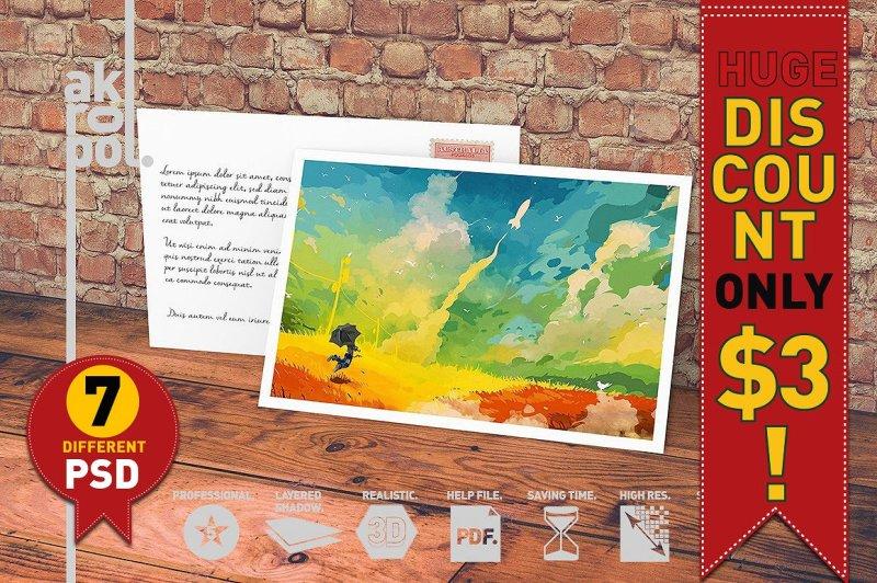 Free 7-Postcard & Invitation Mock-up (PSD Mockups)
