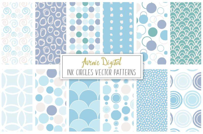 ink-circles-and-dots-vector-patterns