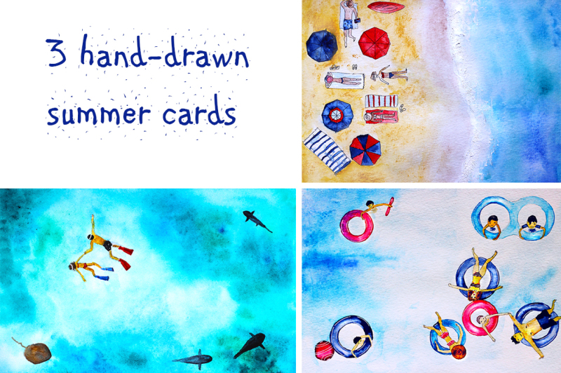 3-cards-summer-holidays