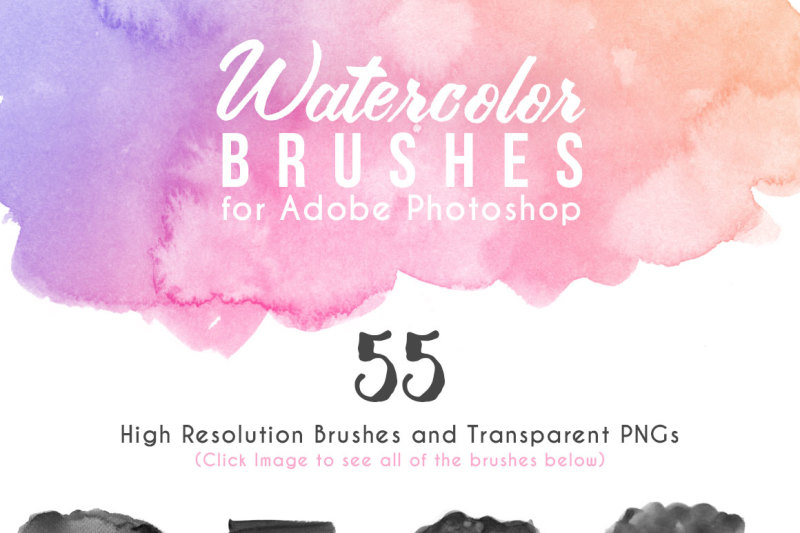 75 Watercolor Photoshop Brushes + PNGs By AvenieDigital