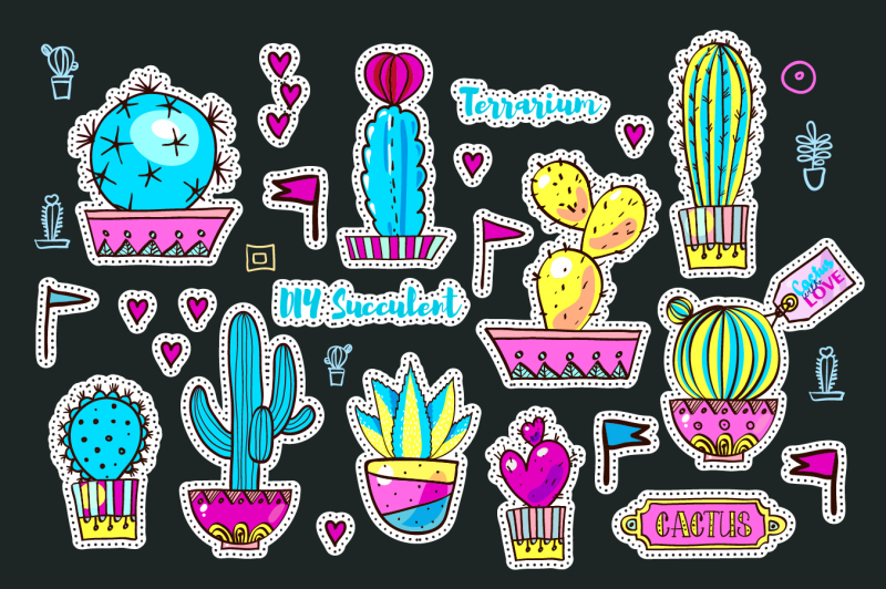 set-fashion-patches-with-cacti