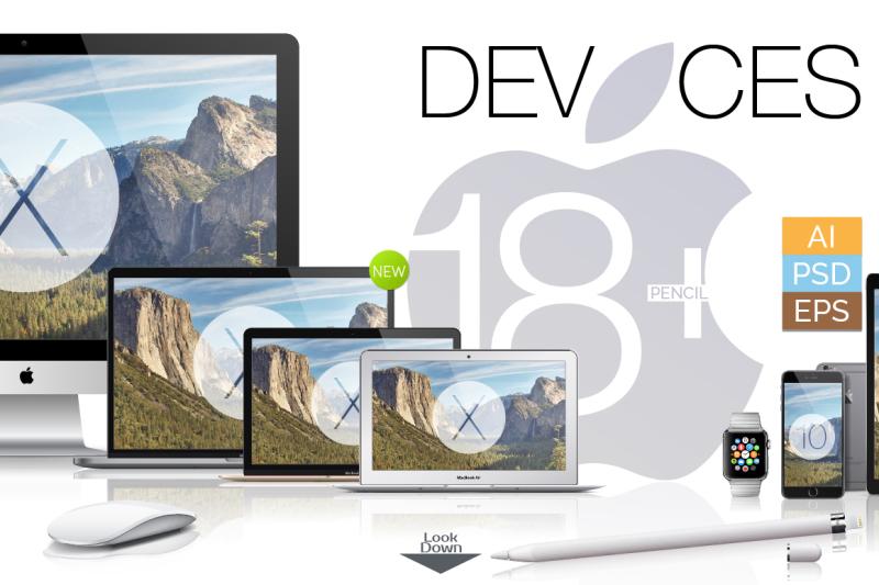 Free 18 Apple Mockups [Full] +BONUS (AI+PSD) (PSD Mockups)