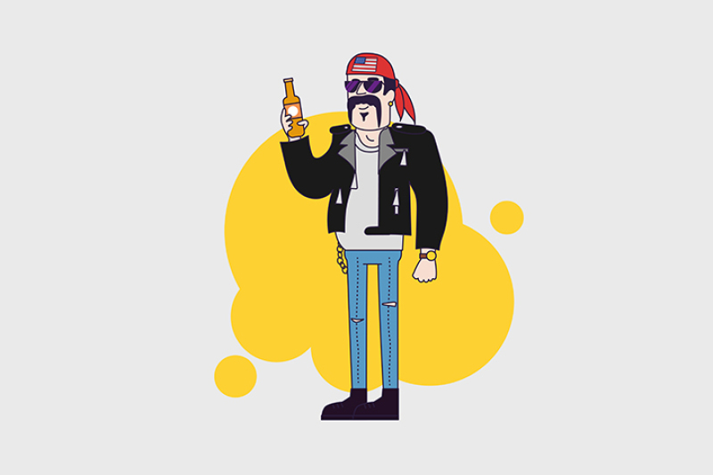 biker-character-in-sunglasses-and-leather-jacket-with-beer-bottle-linear-flat-design