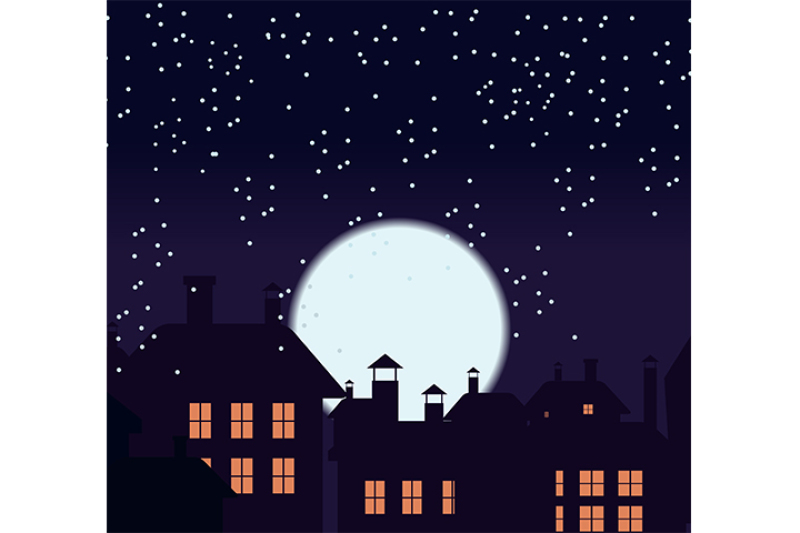 silhouette-of-the-city-and-night-sky-with-stars-and-moon-falling-snow-cat-on-the-roof