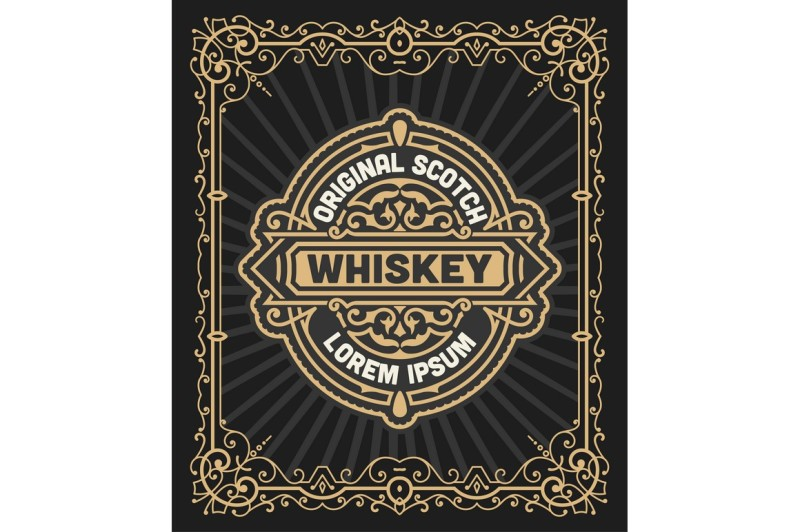 retro-logo-for-whiskey-or-other-products-with-floral-frame
