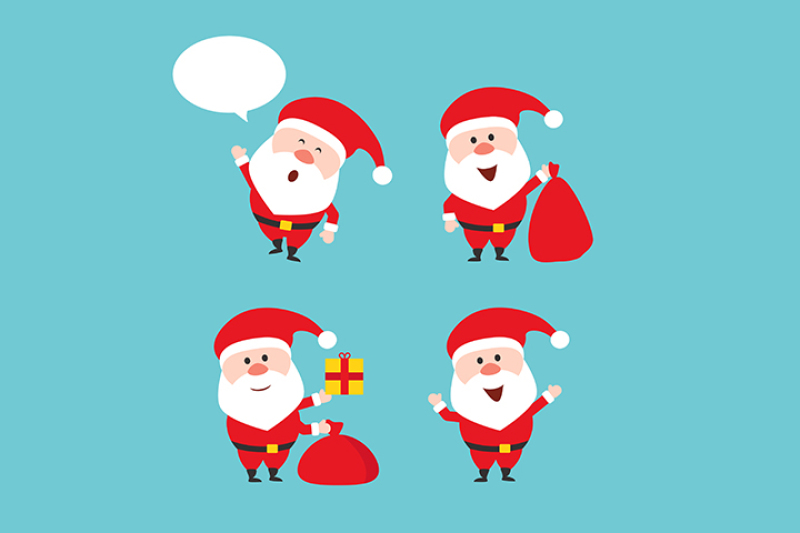cartoon-character-santa-claus-in-various-positions-in-flat-style