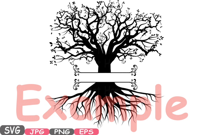 family-tree-split-circle-silhouette-svg-cutting-files-family-tree-deep-roots-branches-monogram-word-art-clipart-vinyl-family-is-love-597s