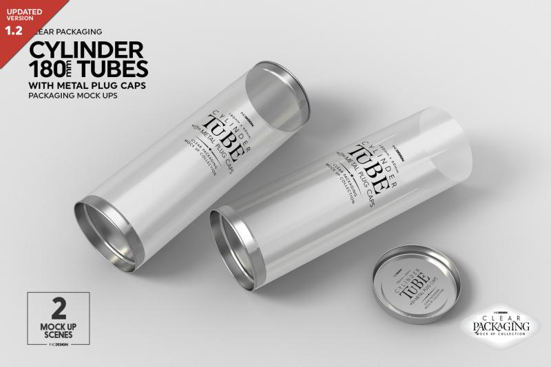 Free Cylinder 180mm Tube Packaging Mock Up (PSD Mockups)