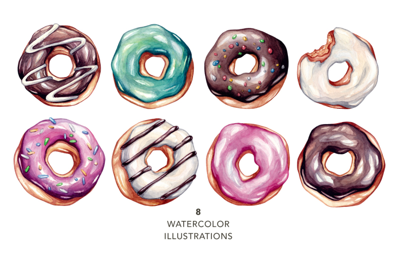 donuts-watercolor-illustrations