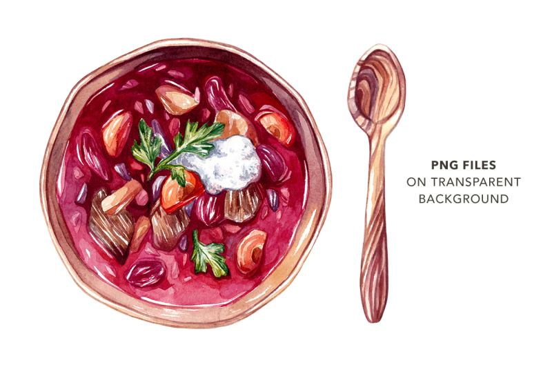 beetroot-soup-watercolor-ingredients